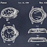 1999 Rolex Diving Watch Patent Print Blackboard Poster