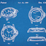 1999 Rolex Diving Watch Patent Print Blueprint Poster