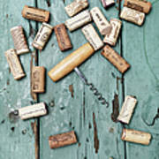 Corks With Corkscrew Poster