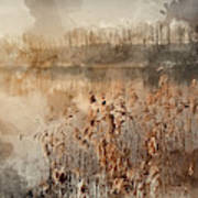 Digital Watercolor Painting Of Landscape Of Lake In Mist With Su Poster