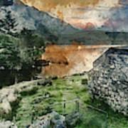 Digital Watercolor Painting Of Panorama Landscape Stunning Sunri Poster