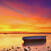 Fishing Boat At Sunset Time Poster