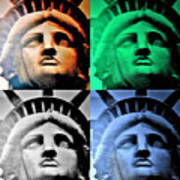Lady Liberty In Quad Colors Poster
