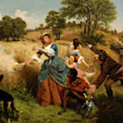 Mrs  Schuyler Burning Her Wheat Fields On The Approach Of The British  Poster