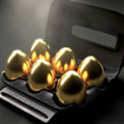 Six Golden Eggs In An Egg Carton Poster