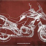 2018 Kawasaki Versys 1000 Lt Abs Blueprint Old Vintage Red Background Original Artwork Poster