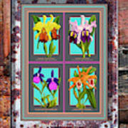 Antique Orchids Quatro On Rusted Metal And Weathered Wood Plank Poster