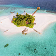 Aerial Drone View Of A Tropical Island, Maldives Poster
