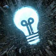 Blue Sky Light Bulb Shining In Bleak Poster