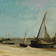 Boats On The Seacoast At Etaples  Poster