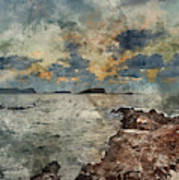 Digital Watercolor Painting Of Sunrise Over Rocky Coastline On M Poster