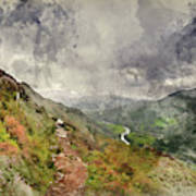 Digital Watercolor Painting Of Landscape Image Of View From Prec Poster