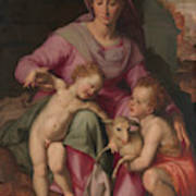Madonna And Child With The Infant Saint John The Baptist Poster