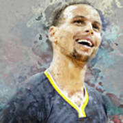 Portrait Of Stephen Curry Poster
