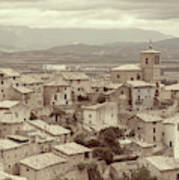 Beautiful Medieval Spanish Village In Sepia Tone Poster