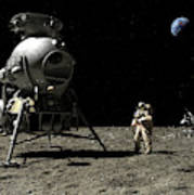 A Cosmonaut On The Moon Poster