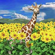 A Friendly Giraffe Hello Poster