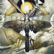 A Painting Alludes To Powers That Might Enable Birds To Migrate. Poster