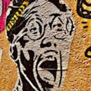A Terrified Face On A Barcelona Wall  Poster
