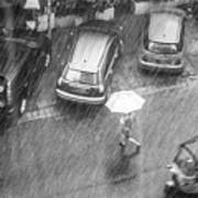 A Woman Rushes To Cross The Street Poster