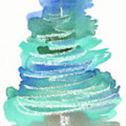 Abstract Fir Tree Christmas Watercolor Painting Poster