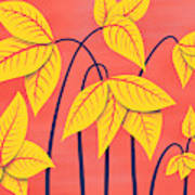 Abstract Flowers Geometric Art In Vibrant Coral And Yellow  Poster