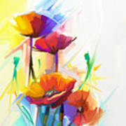 Abstract Oil Painting Of Spring Flower Poster