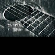 Acoustic Guitar Musician Player Metal Rock Music Black Poster