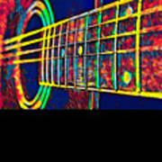 Acoustic Guitar Musician Player Metal Rock Music Color Poster