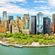 Aerial Panorama Of Downtown New York Skyline Poster