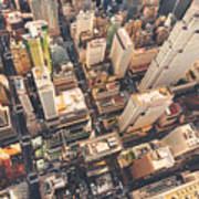 Aerial View Of Midtown Manhattan At Poster