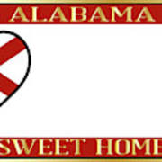Alabama State License Plate Poster
