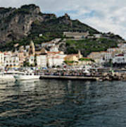 Amalfi Town Seen From Ferry Approaching Poster