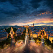 Amazing View To Night Paris Poster