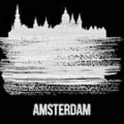 Amsterdam Skyline Brush Stroke White Poster