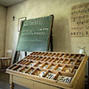 An Old Classroom With Blackboard And Boards With Old Script Poster