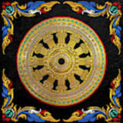 Ancient 12-spoked Gold Dharmachakra - The Wheel Of Dharma Poster