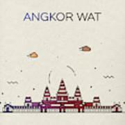 Angkor Wat City Skyline Whimsical Fun Tall Bright Series Poster