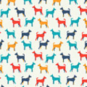 Animal Seamless Vector Pattern Of Dog Poster
