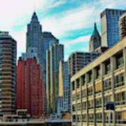Architecture Nyc From Brooklyn Bridge  Poster