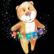 Artoon Bear  On A Black Background. New Poster