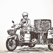 Asian Street Food On Motorbike, Hand Poster