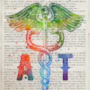 Athletic Trainer Gift Idea With Caduceus Illustration 03 Poster