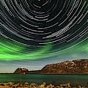 Aurora Borealis With Startrails Poster