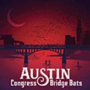 Austin Congress Bridge Bats In Red Silhouette Poster