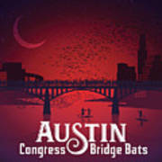 Austin Congress Bridge Bats In Red Silhouette Poster