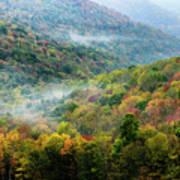 Autumn Hillsides With Mist Poster
