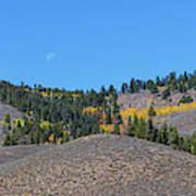 Autumn Moon Setting Panoramic View Poster