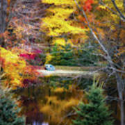 Autumn Pond With Rowboat Poster