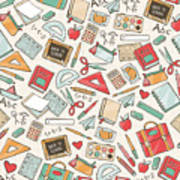 Back To School Seamless Pattern With Poster